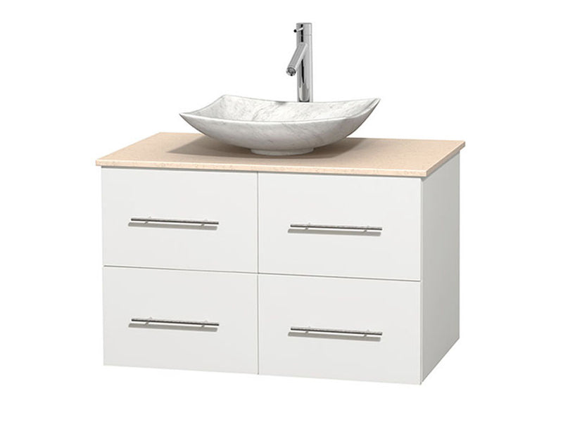 "Wyndham Collection 36"""" Single Bathroom Vanity in White, Ivory Marble Countertop, Arista White Carrera Marble Sink, and No Mirror 