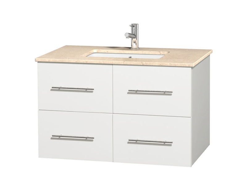 "Wyndham Collection 36"""" Single Bathroom Vanity in White, Ivory Marble Countertop, Undermount Square Sink, and No Mirror 
