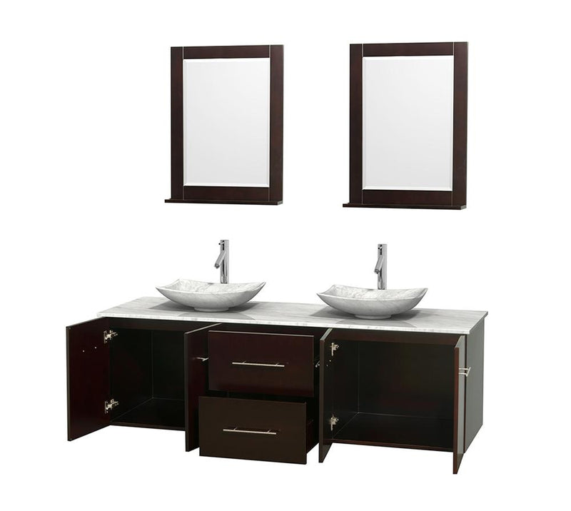 "WYNDHAM COLLECTION 72"" Double Bathroom Vanity in Espresso, White Carrera Marble Countertop, Arista White Carrera Marble Sinks, and 24"" Mirrors 