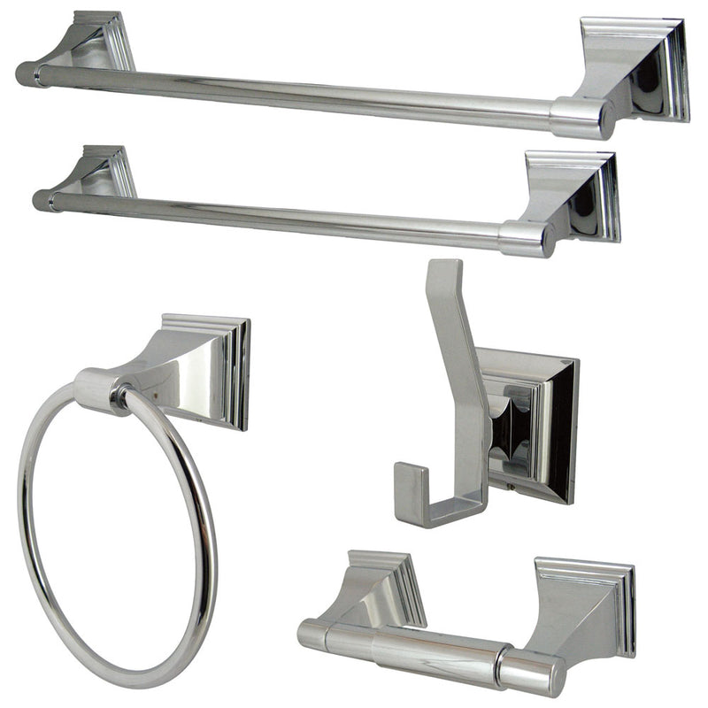 Kingston Brass BAHK61212478C Monarch Collection 5-piece Towel Bar Bath Hardware Set, Polished Chrome - Polished Chrome | Kipe it