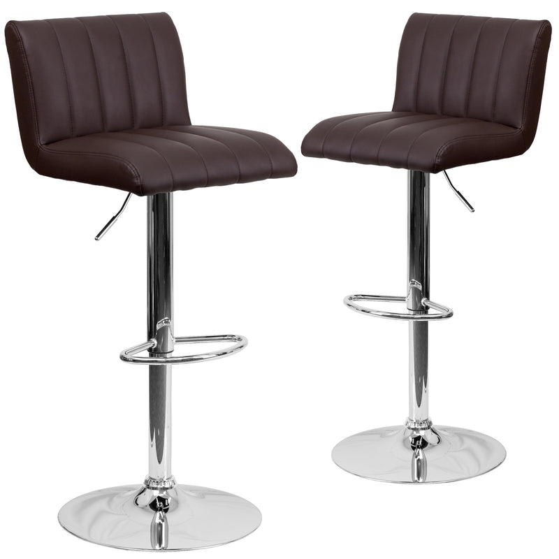 2 Pk. Contemporary Vinyl Adjustable Height Barstool with Chrome Base