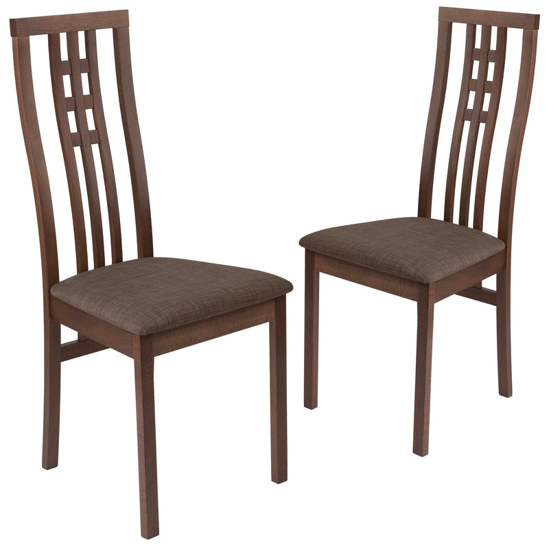2 Pk. Phillips Wood Dining Chair with Triple Window Pane Back and Fabric Seat
