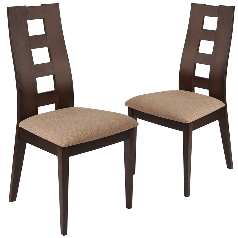 2 Pk. Preston Wood Dining Chair with Window Pane Back and Fabric Seat