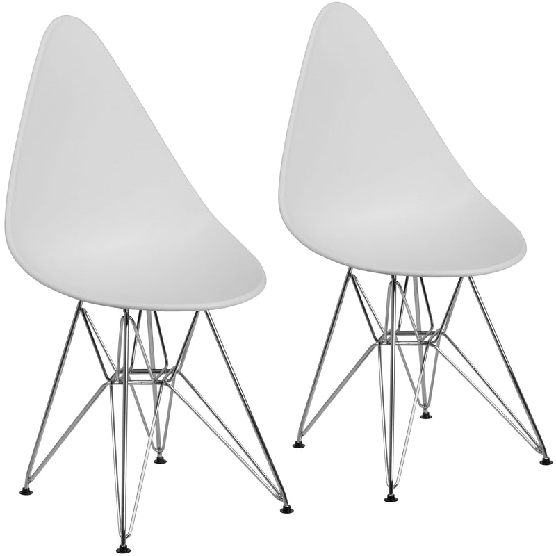 2 Pk. Allegra Series Teardrop Plastic Chair with Chrome Base
