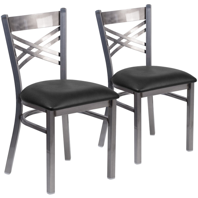 2 Pk. HERCULES Series Clear Coated ''X'' Back Metal Restaurant Chair