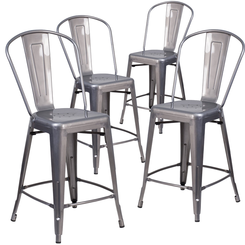 4 Pk. 24'' High Indoor Counter Height Stool with Back