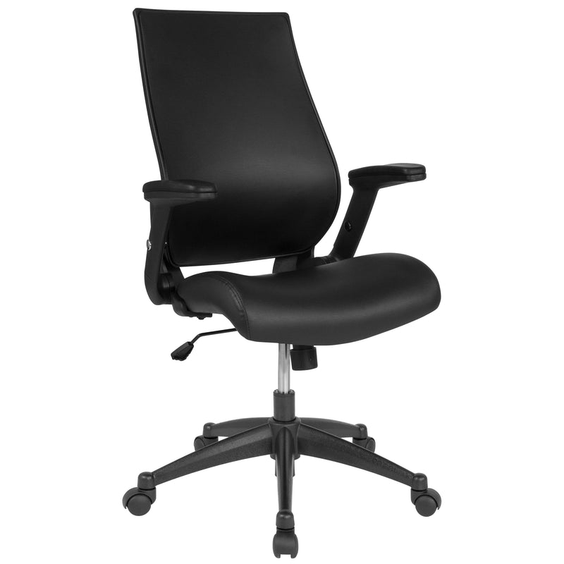 High Back Leather Executive Swivel Chair with Molded Foam Seat and Adjustable Arms | Kipe it