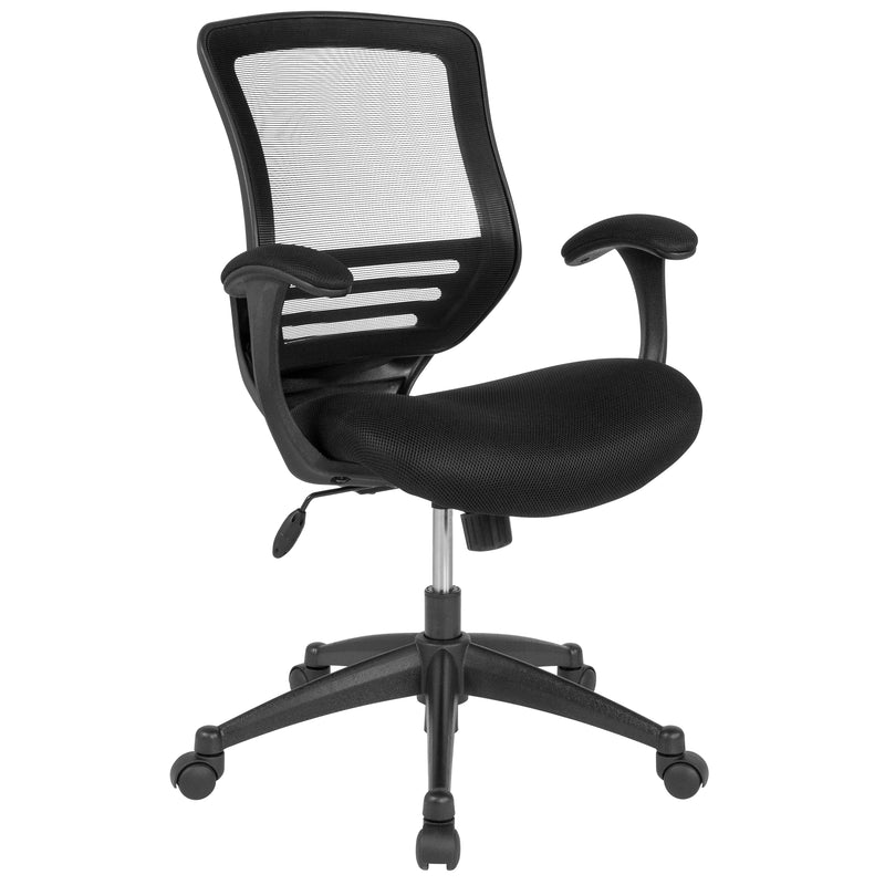 Mid-Back Mesh Executive Swivel Chair with Back Angle Adjustment, Molded Foam Seat and Curved Cushioned Arms | Kipe it