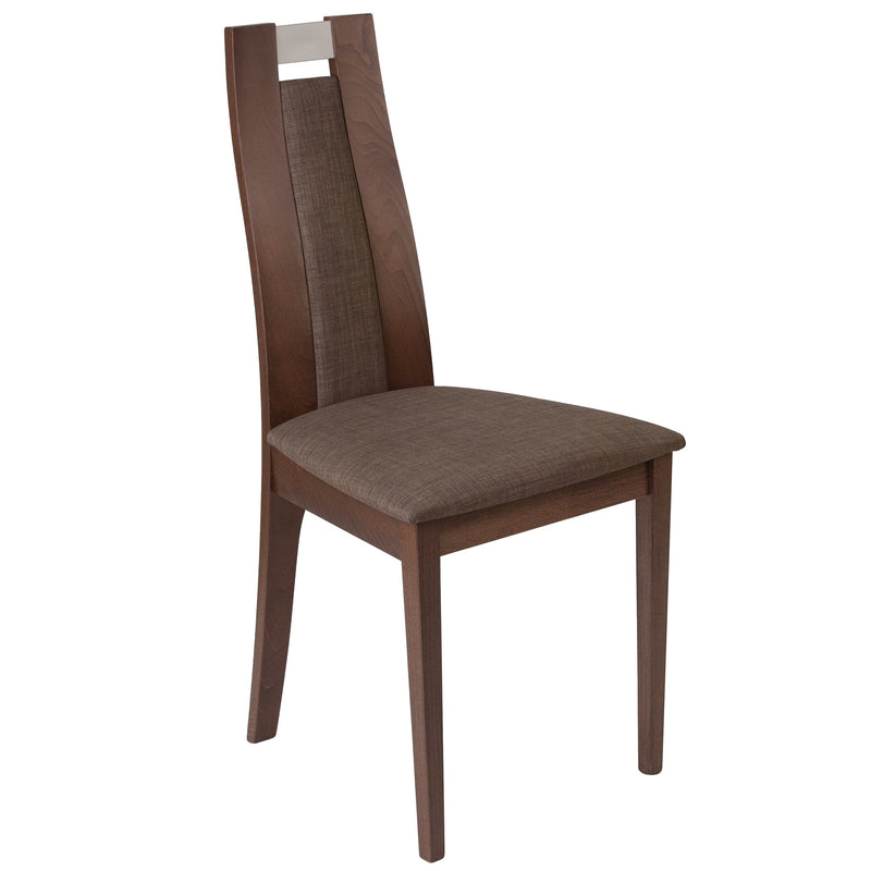 Quincy Wood Dining Chair with Curved Slat Wood and Fabric Seat