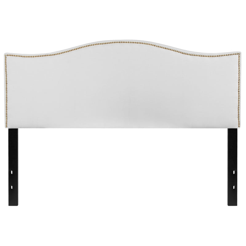 Lexington Upholstered Queen Size Headboard with Decorative Nail Trim | Kipe it