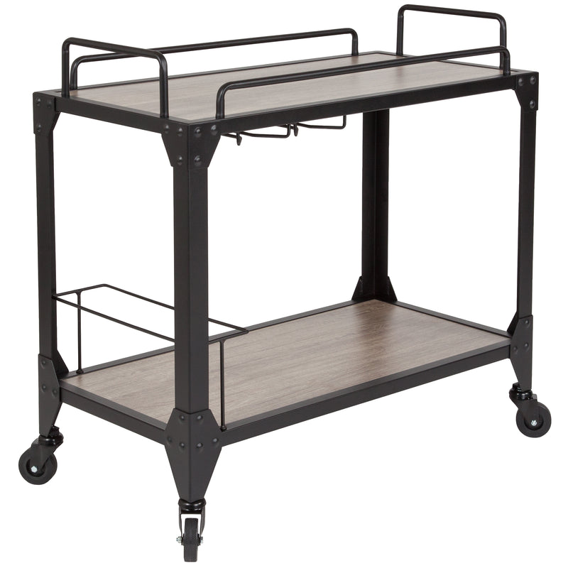 Midtown Wood and Iron Kitchen Serving and Bar Cart with Wine Glass Holders