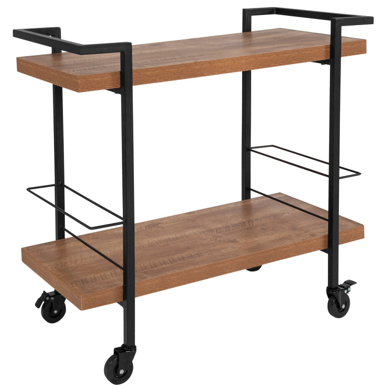 Castleberry Wood Grain and Iron Kitchen Serving and Bar Cart