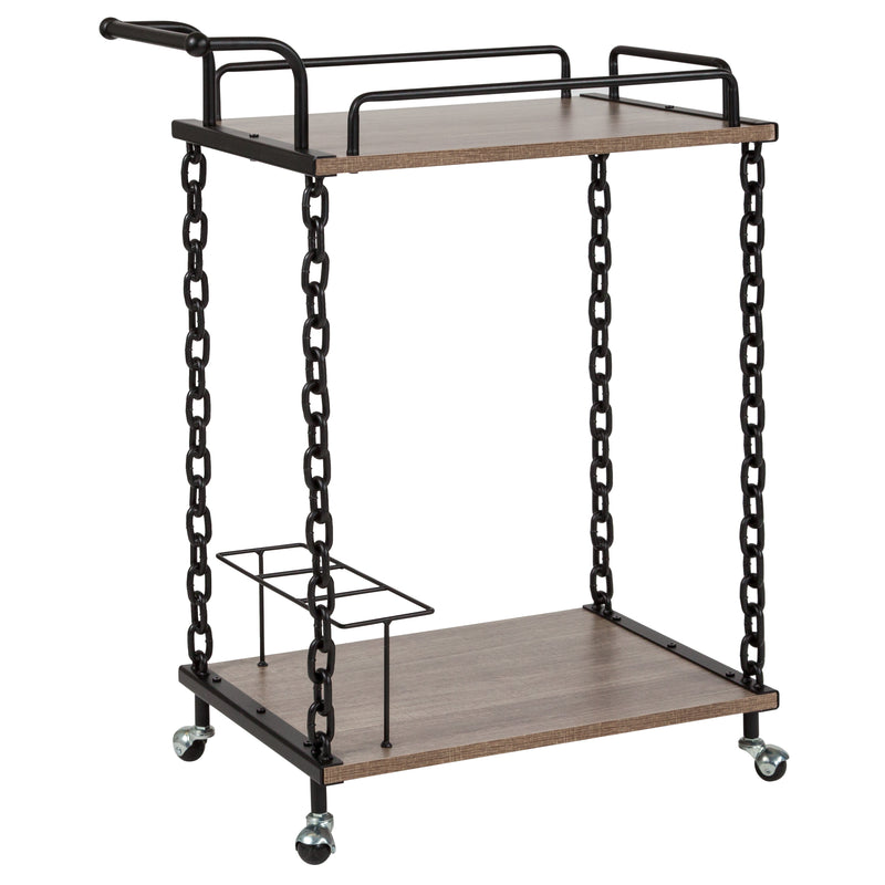 Uptown Wood and Industrial Iron Kitchen Serving and Bar Cart