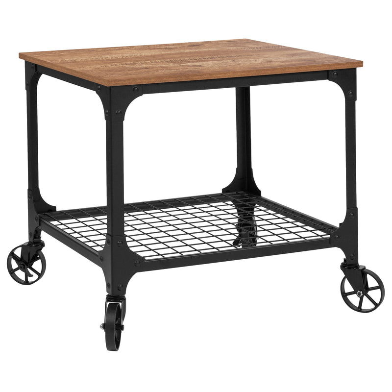 Grant Park Wood Grain and Industrial Iron Kitchen Serving and Bar Cart