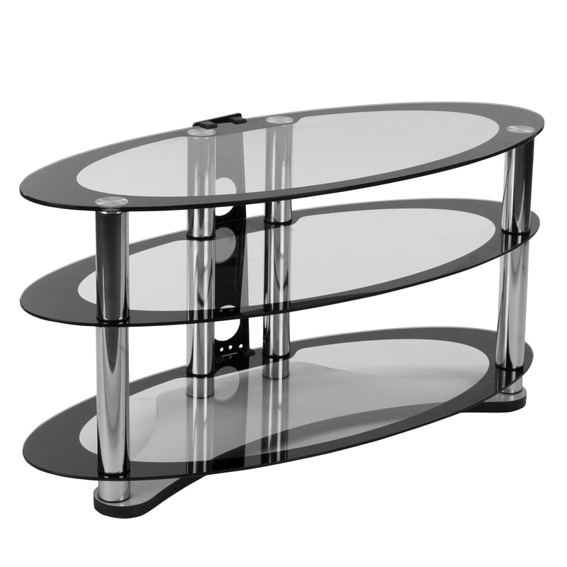 Westchester TV Stand with Shelves and Chrome Tubing | Kipe it