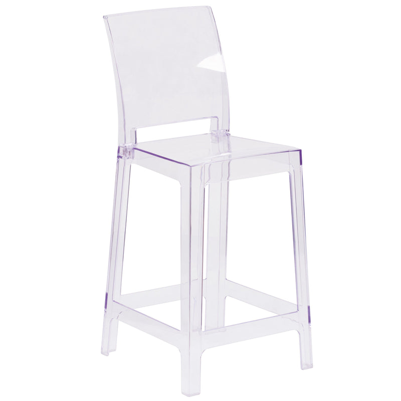 Ghost Counter Stool in Transparent Crystal with Square Back