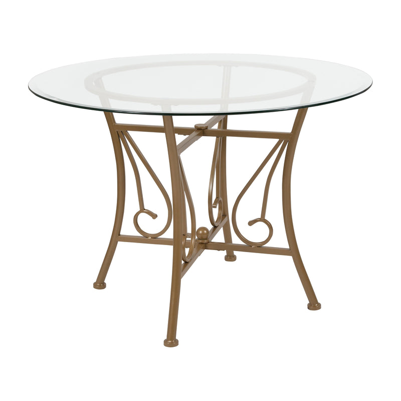 Princeton 42'' Round Glass Dining Table with Metal Frame