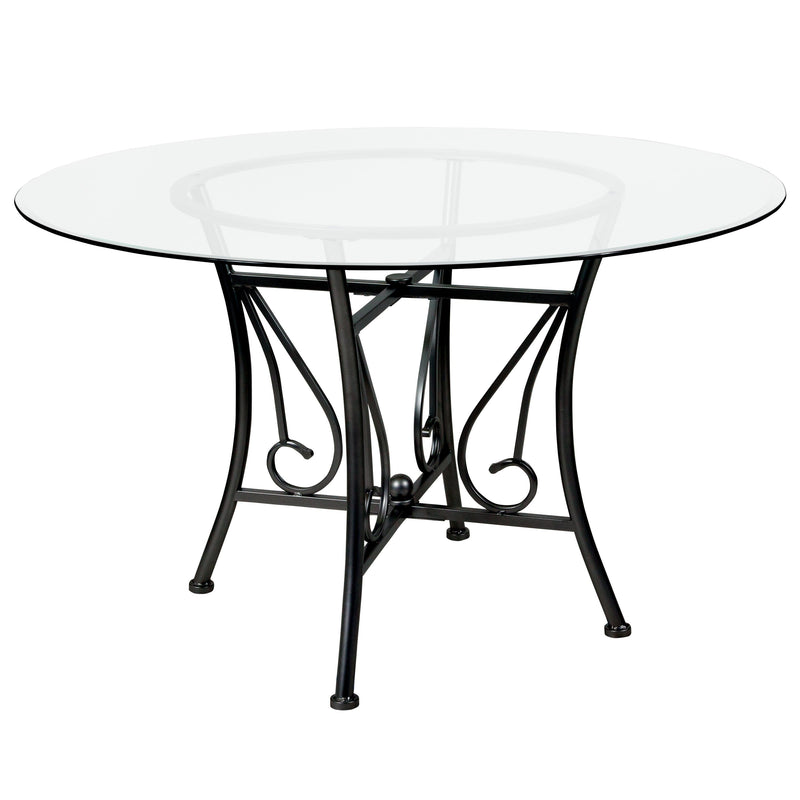 Princeton 48'' Round Glass Dining Table with Metal Frame