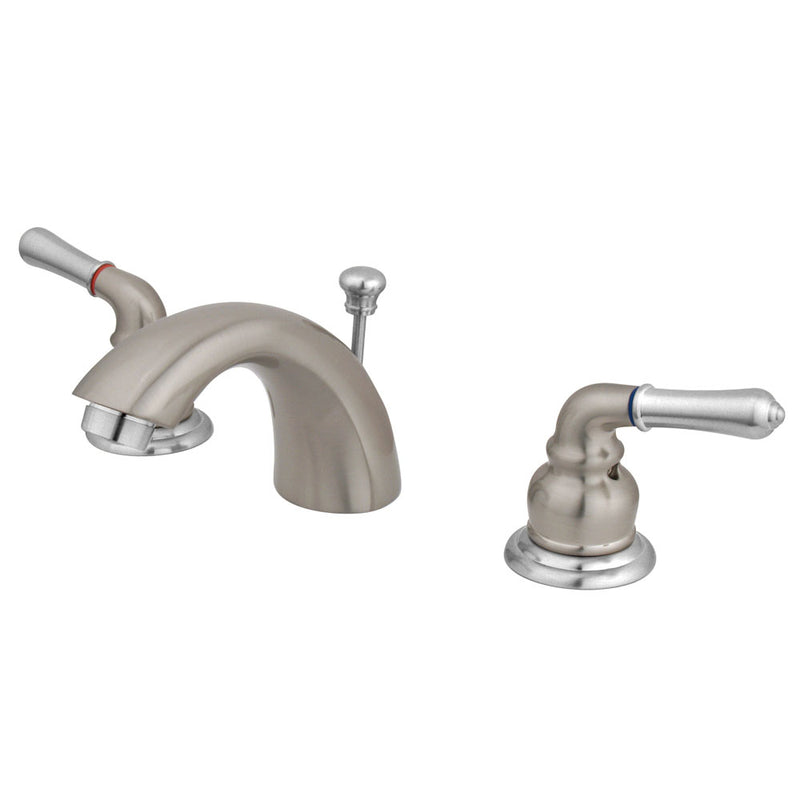 Kingston Brass GKB957 Water Saving Magellan Mini Widespread Lavatory Faucet, Satin Nickel with Chrome Trim - Satin Nickel/Polished Chrome | Kipe it