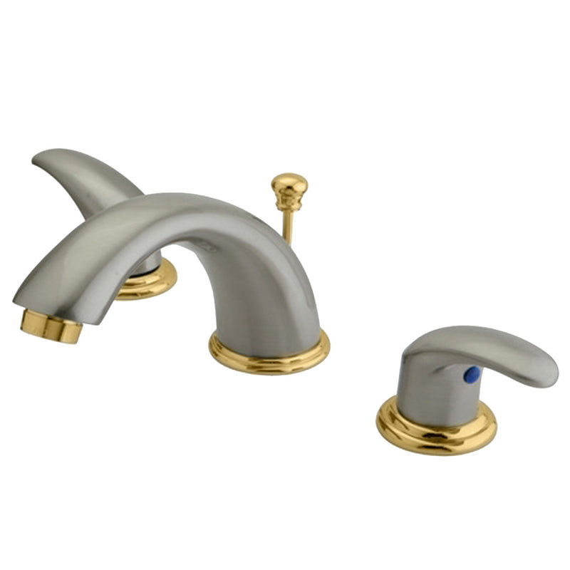 Kingston Brass KB6969LL Widespread Lavatory Faucet, Satin Nickel - Satin Nickel/Polished Brass | Kipe it