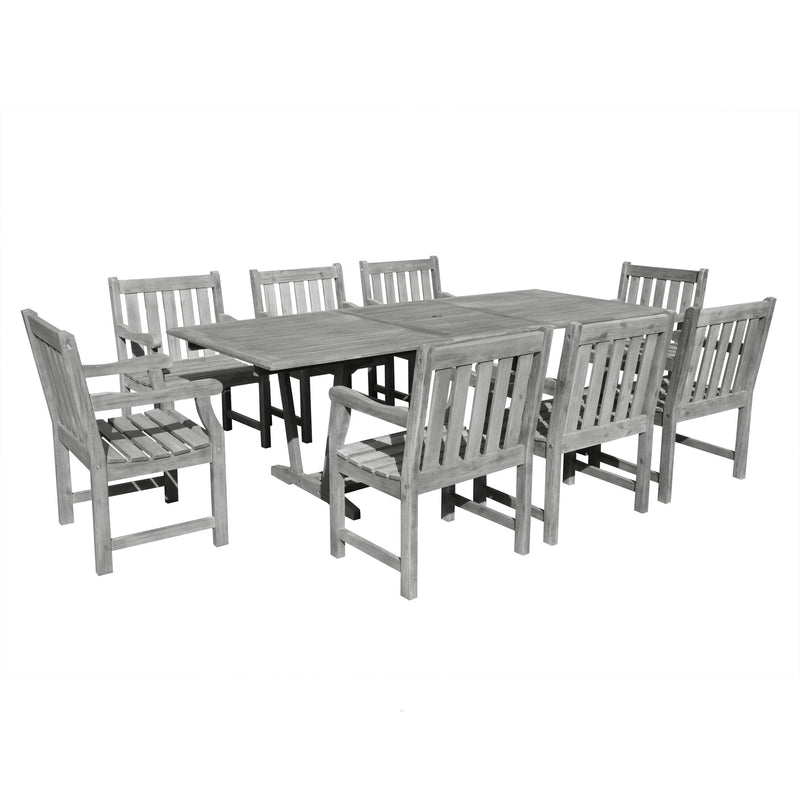 Renaissance Eco-friendly 9-piece Outdoor Hand-scraped Hardwood Hardwood Dining Set with Rectangle Extention Table and Arm Chairs | Kipe it