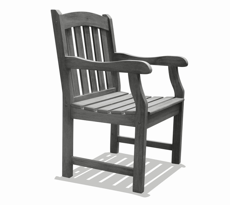 Renaissance Hand-scraped Hardwood Acacia Slatted Back and Seat Outdoor Arm Chair | Kipe it