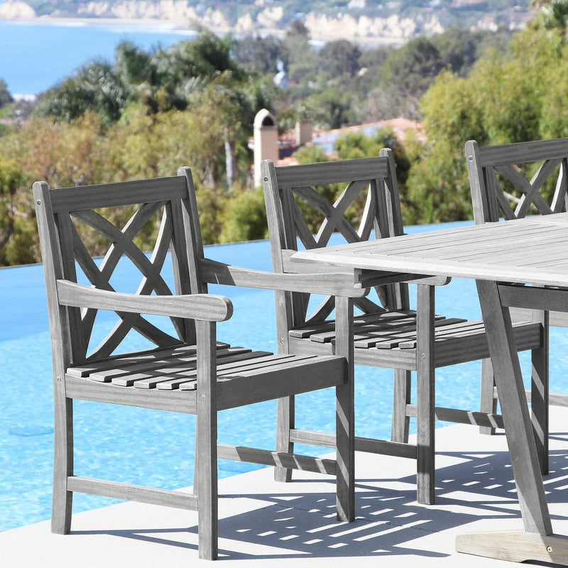 Renaissance Eco-friendly 7-piece Outdoor Hand-scraped Hardwood Hardwood Dining Set with Rectangle Table and Arm Chairs