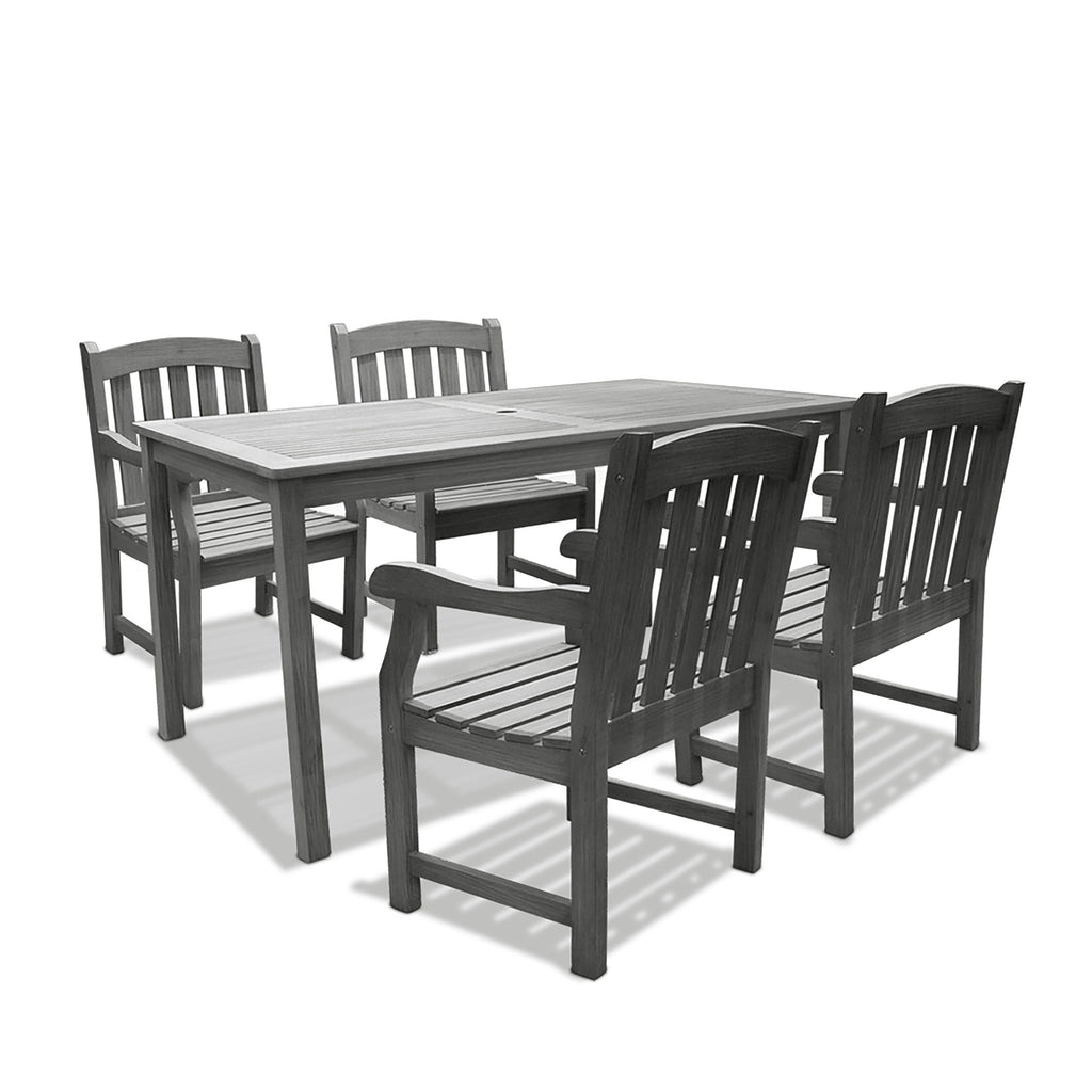 Renaissance Rectangular Table & Arm ChairOutdoor Hand-scraped Hardwood Hardwood Dining Set 4 | Kipe it
