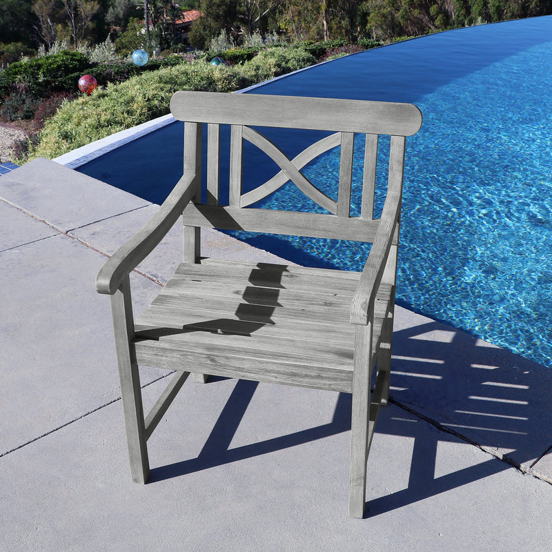 Renaissance Outdoor Hand-scraped Hardwood Hardwood Arm Chair | Kipe it