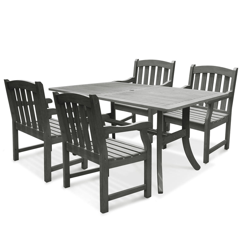 Renaissance Rectangular Table & Arm ChairOutdoor Hand-scraped Hardwood Hardwood Dining Set 6 | Kipe it