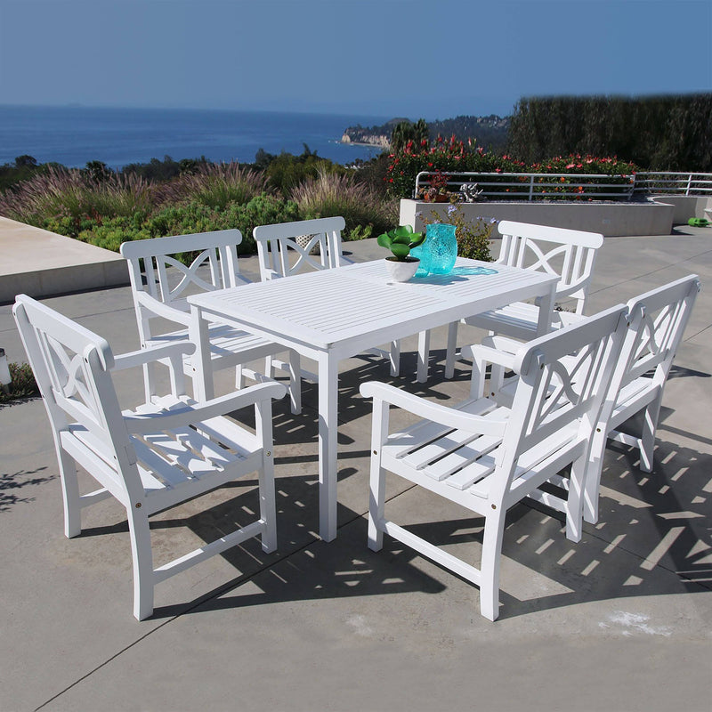 Bradley Rectangular Table & Arm ChairOutdoor Wood Dining Set 3