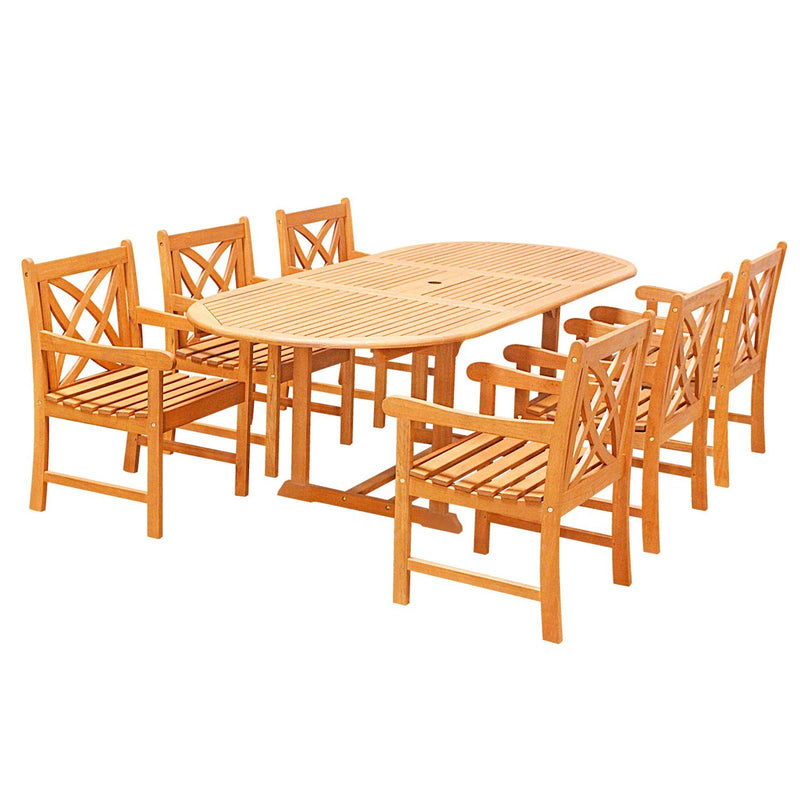 Eco-Friendly 7-Piece Wood Outdoor Dining Set  Oval Extension Table and Arm Chairs  V144SET27