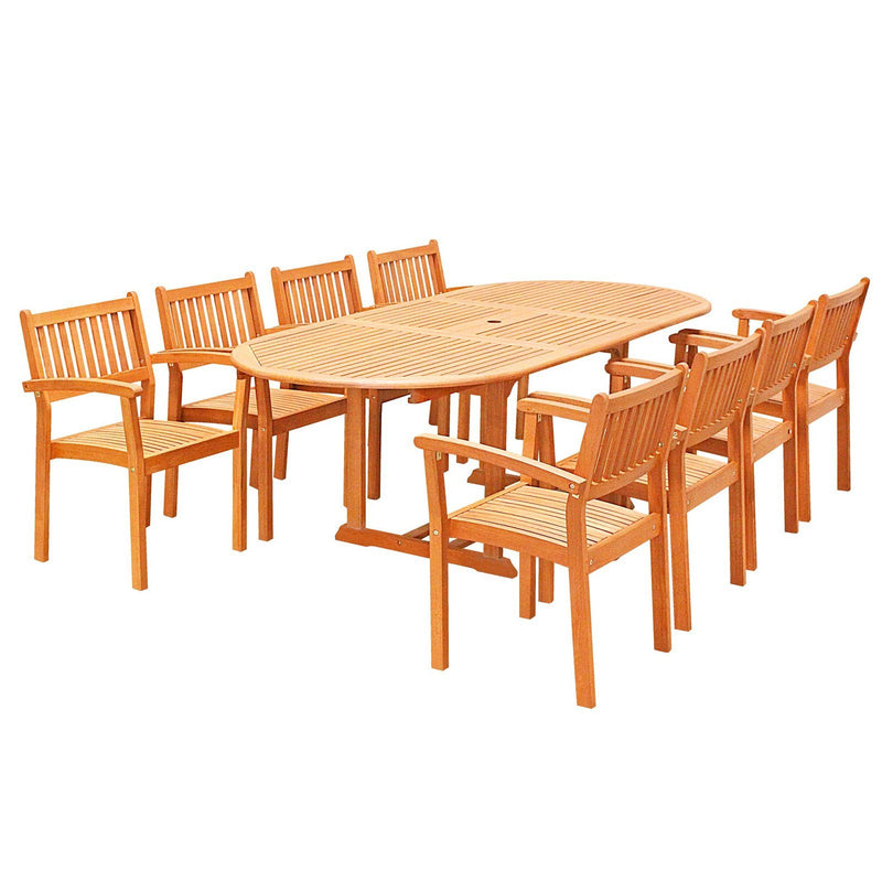 Eco-Friendly 9-Piece Wood Outdoor Dining Set  with Oval Extension Table and Stacking Chairs V144SET28