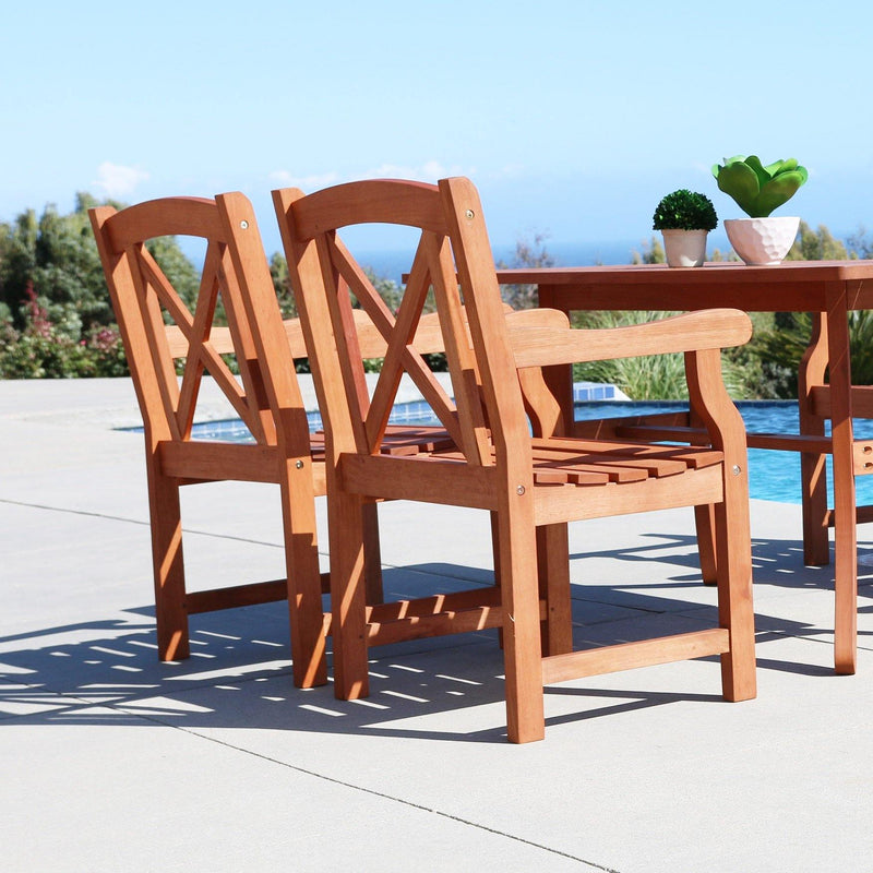Malibu Eco-friendly 7-piece Outdoor Hardwood Dining Set with Oval Extention Table and Arm Chairs