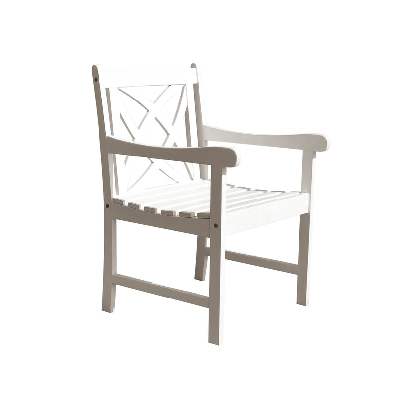 Bradley Eco-friendly Outdoor White Hardwood Garden Arm Chair | Kipe it