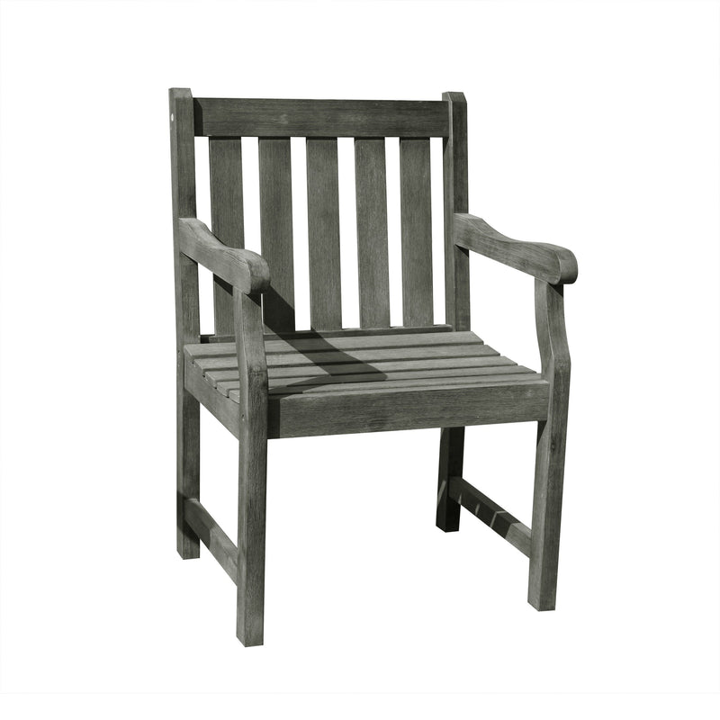 Renaissance Eco-friendly Outdoor Hand-scraped Hardwood Hardwood Garden Arm Chair | Kipe it