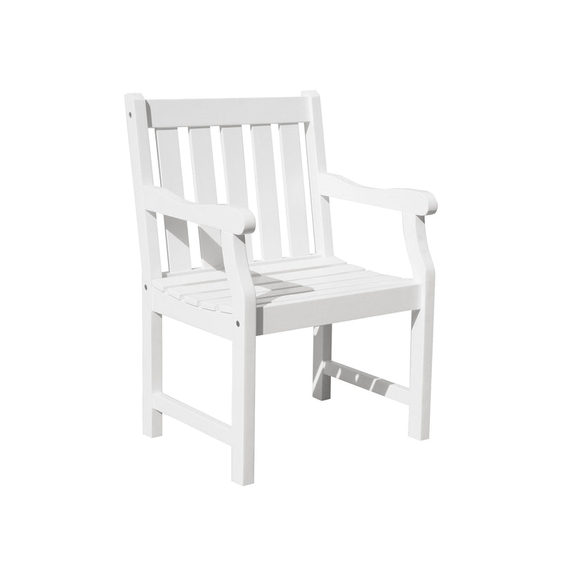 Bradley Eco-friendly Outdoor White Wood Garden Arm Chair | Kipe it
