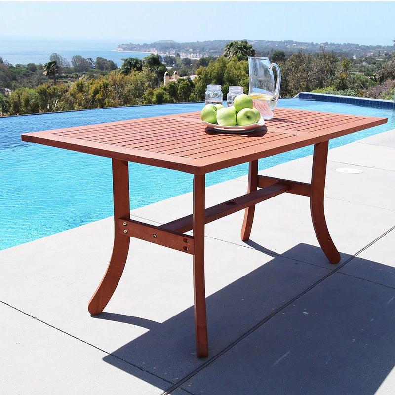 Malibu Eco-friendly 5-piece Outdoor Hardwood Dining Set with Rectangle Table and Arm Chairs