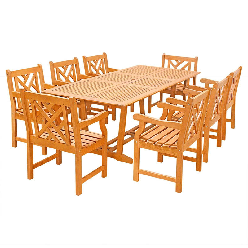 Eco-Friendly 9-Piece Wood Outdoor Dining Set  with Rectangular Extension Table and Decorative Back Arm Chairs V232SET32