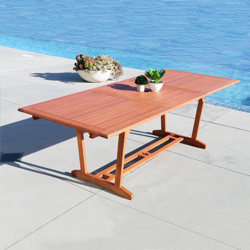 Malibu Eco-Friendly 7-Piece Wood Outdoor Dining Set with Rectangular Extension Table and Stacking Chairs