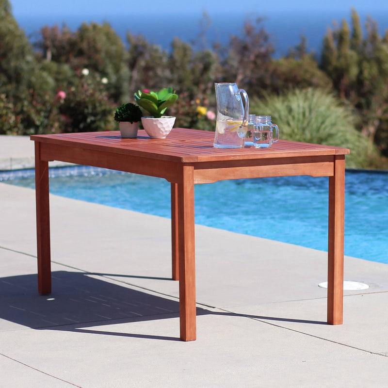 Balthazar Rectangular Table & Wood Reclining Chair Outdoor Dining Set