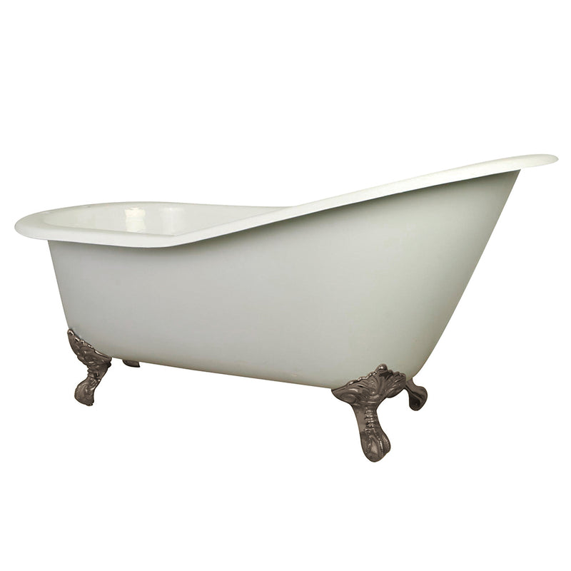 "Kingston Brass Aqua Eden 61"" Cast Iron Slipper Bathtub with Satin Nickel Feet and 7"" Faucet Drillings - White/Satin Nickel 