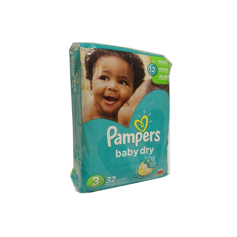 PAMPERS Baby Dry, Size 3, JUMBO, 32 Count Diapers, 4/CS