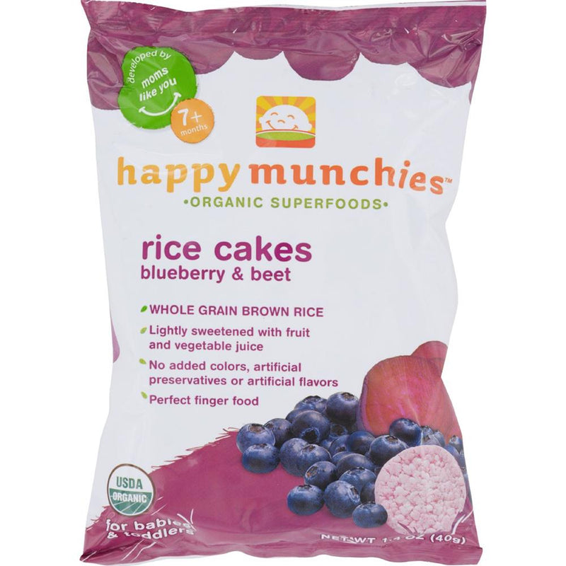 Happy Family - Happy Munchies Rice Cakes - Organic Blueberry And Beet ( 10 - 1.4 OZ) | Kipe it