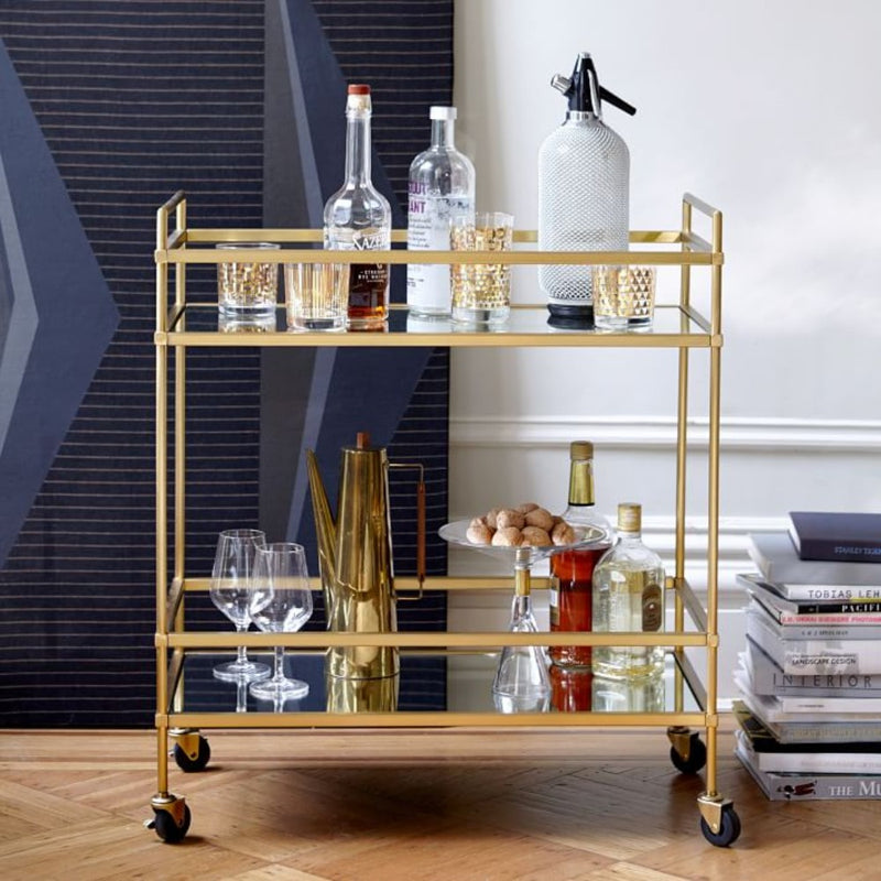 The Urban Port Bar Wine Tea Serving Cart With 2 Tempered Glass Shelves, Gold | Kipe it