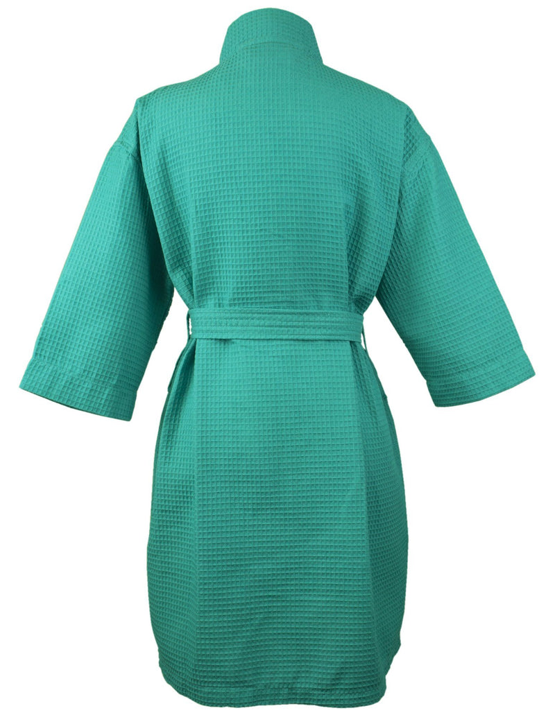 Bare Cotton Thigh Length Waffle Kimono Robe, Small/Medium, Aqua | Kipe it