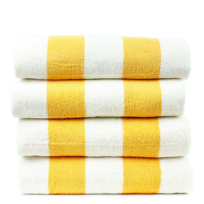 Luxury Hotel Collection 100% - CottonPool Beach Towel, 30x70 Inches - Set of 4 - Cabana - Extra Absorbent 100% Cotton - For Beach, Gym and Spa - Yellow | Kipe it