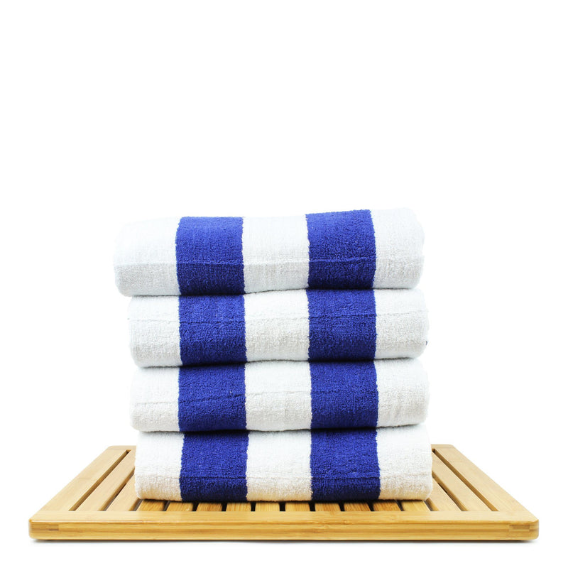 Luxury Hotel Collection 100% - CottonPool Beach Towel, 30x70 Inches - Set of 4 - Cabana - Extra Absorbent 100% Cotton - For Beach, Gym and Spa - Blue | Kipe it