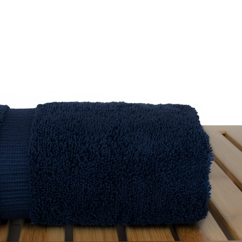 Luxury Hotel & Spa Towel Turkish Cotton Hand Towels - Navy Blue - Dobby Border - Set of 6 | Kipe it
