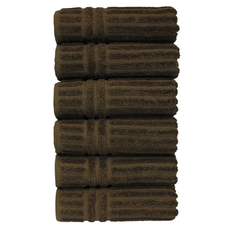 Luxury Hotel & Spa Towel Turkish Cotton Hand Towels - Cocoa - Striped - Set of 6